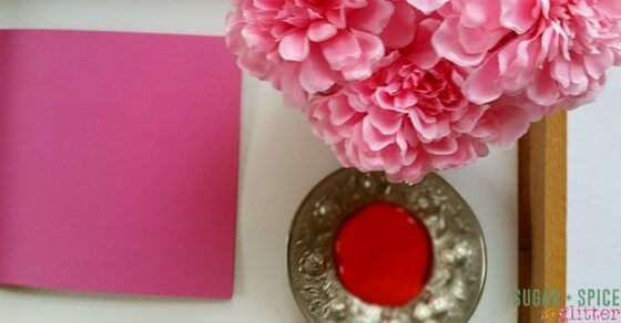 Painting with flowers is a great kids' art activity for Valentine's Day