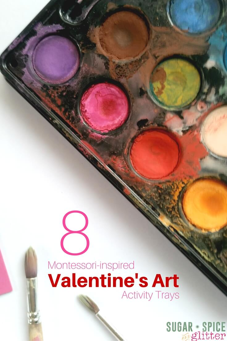 8 Montessori Art Activities for Valentine's Day or a red theme - simple art invitations kids will love and are easy to set up! Montessori Valentine's Crafts for toddlers to kindergartners