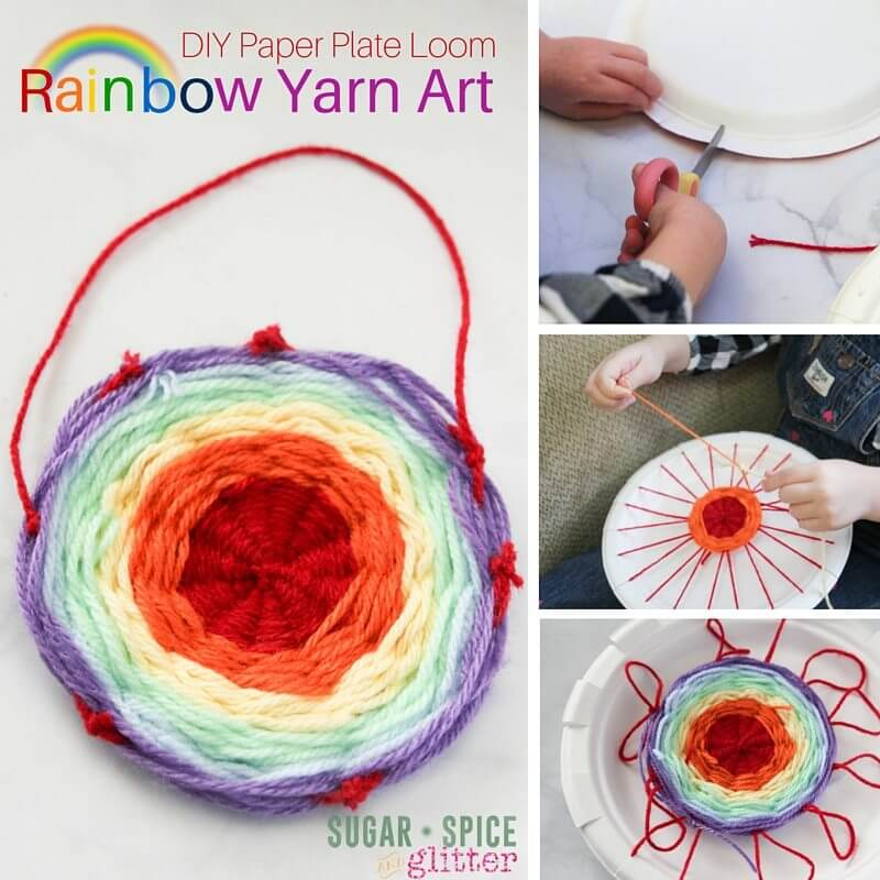DIY Paper Plate Loom Rainbow Yarn Art & DIY Paper Plate Loom: Rainbow Yarn Art ? Sugar Spice and Glitter