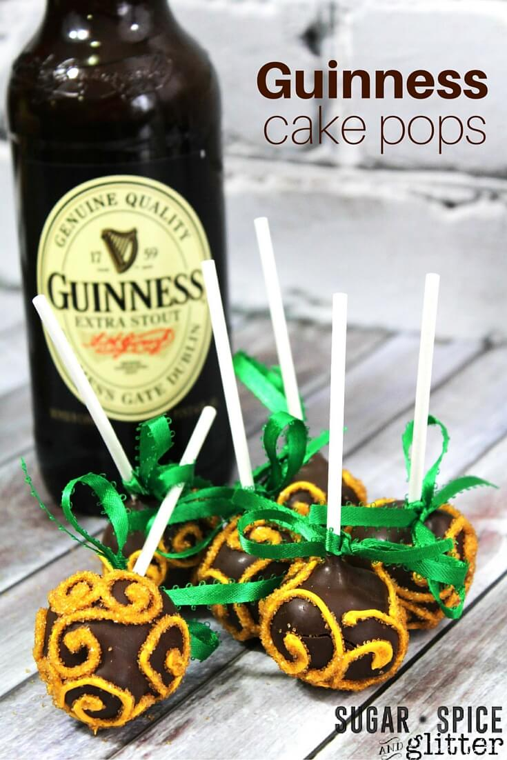Guinness Chocolate Cake Pops on Sugar, Spice & Glitter are the perfect Irish dessert. Bursting with flavour in a rich bite sized dessert you'll love sharing them at your next St. Patrick's Day party.