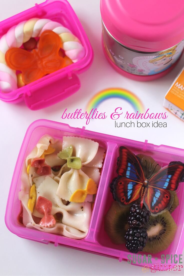 An easy butterflies & rainbows lunch box idea made by kids! This mostly healthy lunch box idea has a fun theme girls will love!
