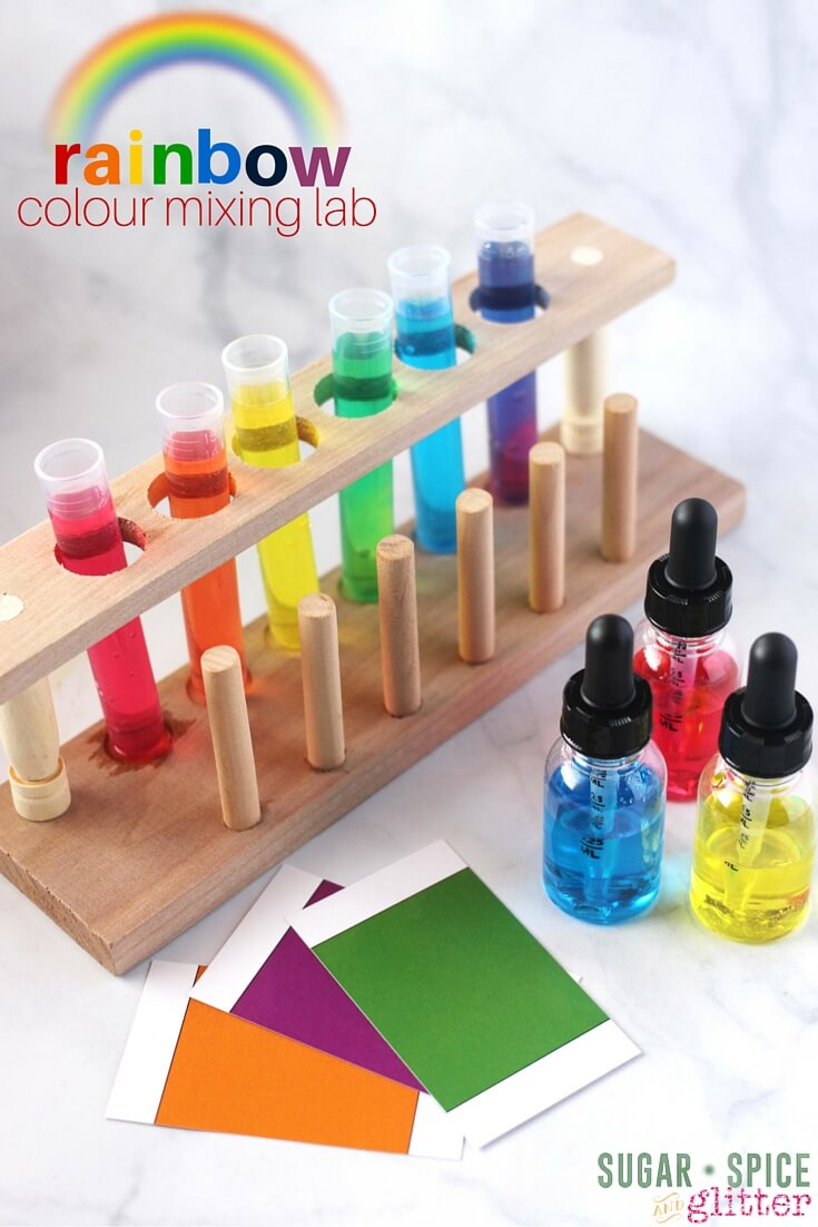 This Rainbow Colour Mixing Lab is the perfect easy science experiment for kids, combining practical life skills with the scientific method. This is also a great experiment for mixed age groups - older kids can focus on measurements and filling out the free printable work sheet