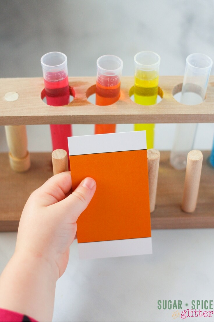 Using color swatches to help gauge color results in this easy color mixing science experiment for kids