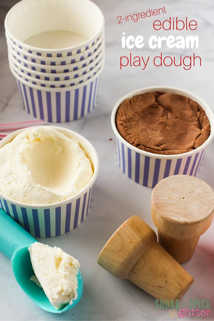This edible ice cream play dough invitation is perfect for including everyone in your group! Sensory sensitive, sensory seeking, toddlers, and preschoolers - everyone will have fun and stay safe with this edible play dough recipe!