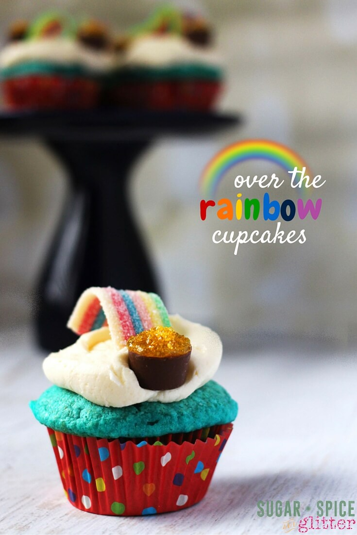 These rainbow cupcakes would be perfect for St. Patrick's Day, a Wizard of Oz themed party, or to celebrate a special rainbow baby. An easy dessert kids can help make!