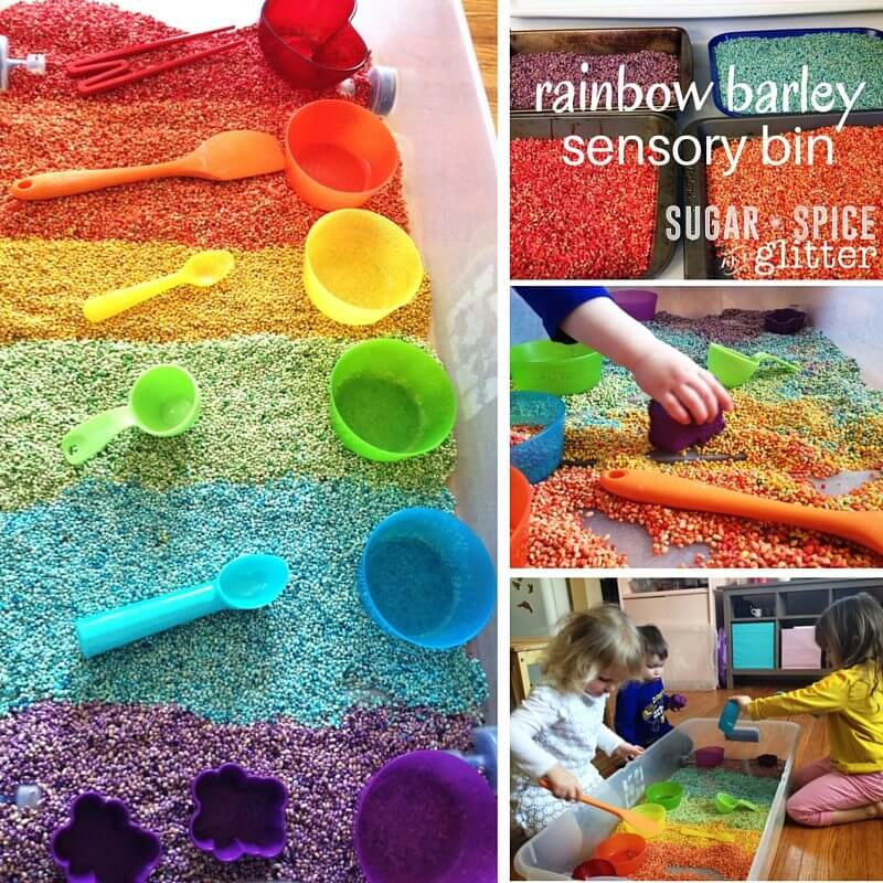 Rainbow Barley Sensory Bin - how to dye barley for sensory play, a perfect St Patrick's day sensory activity for kids