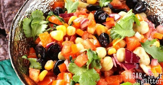 How to make a fresh rainbow salsa the whole family will love! An easy healthy recipe for St Patricks Day, Cinco de Mayo, or anytime rainbows or salsa are in season