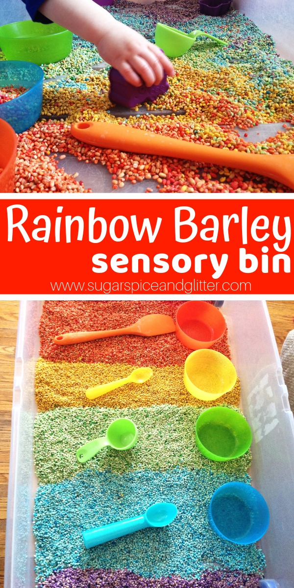 A silky and gorgeous Rainbow Sensory Bin for kids, this rainbow barley bin is perfect for mixed age groups. Add rainbow-coloured kitchen tools to encourage pretend play and fine motor skill building