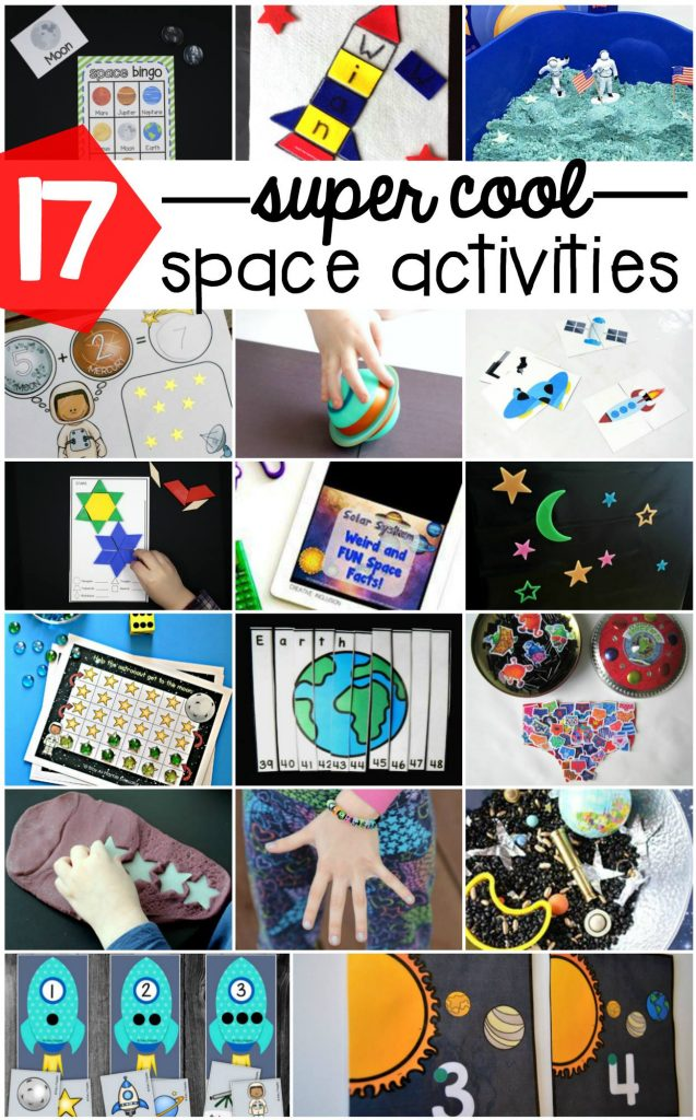 17 super cool space activities - from space sensory bins, to space printables, space science experiments, space crafts, and more!