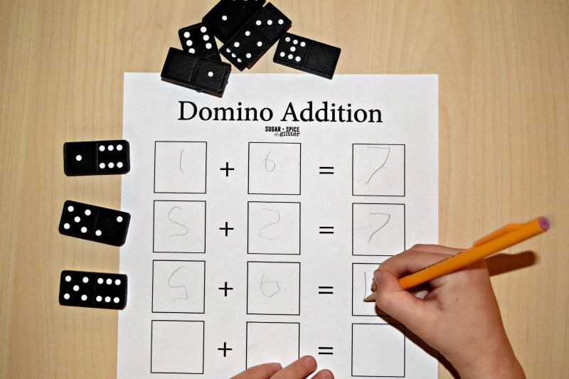 Use dominos for simple addition equations to boost children's math skills and for handwriting practice.