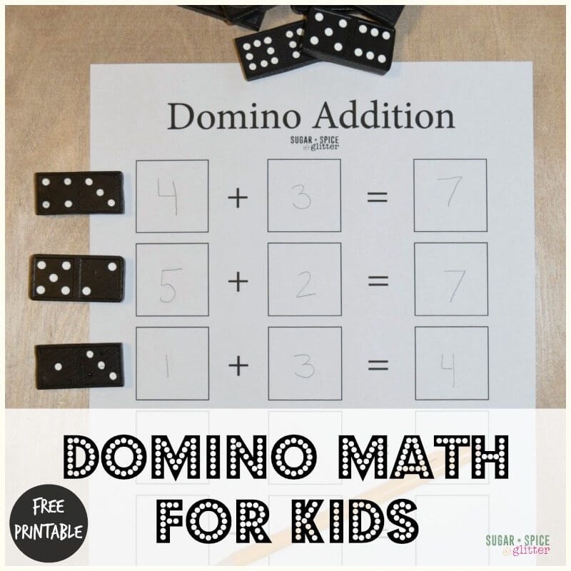Domino Math for Kids with Free Printable ⋆ Sugar, Spice and Glitter