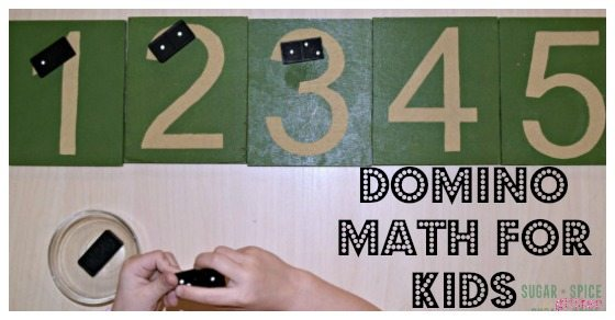 Easy materials for this domino math activity for kids!