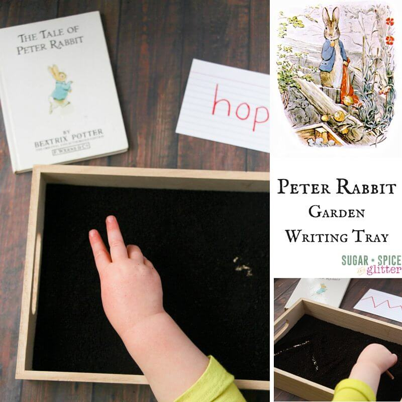 How to set up a Peter Rabbit writing tray - a Montessori pre-writing activity