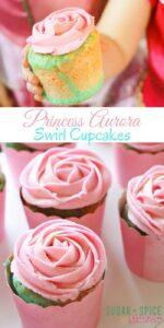 Princess Aurora Swirl Cupcakes