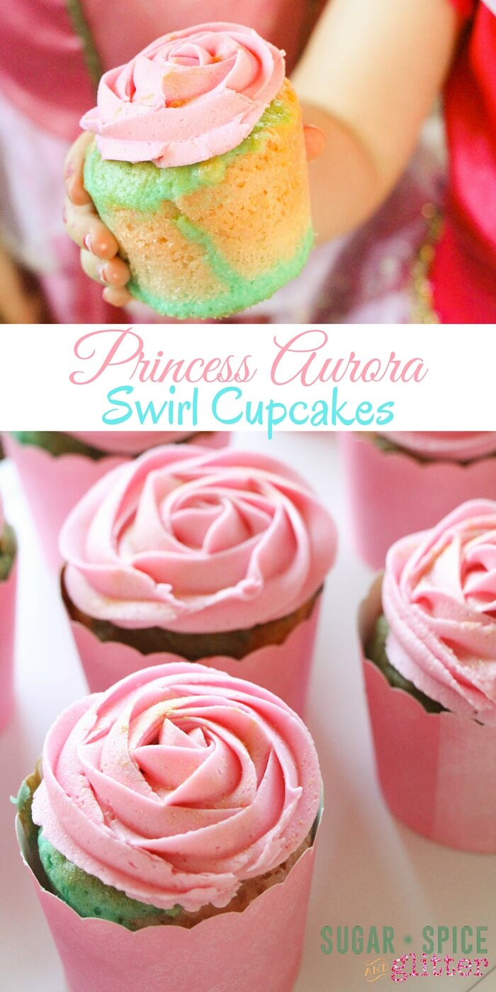 "Princess Aurora Swirl Cupcakes - the perfect princess birthday party cupcake, these ""Briar Rose cupcakes"" have a pink and blue swirl cake which would also be perfect for a gender reveal party cupcake! These sweet little treats are easy enough for the kids to make, too."