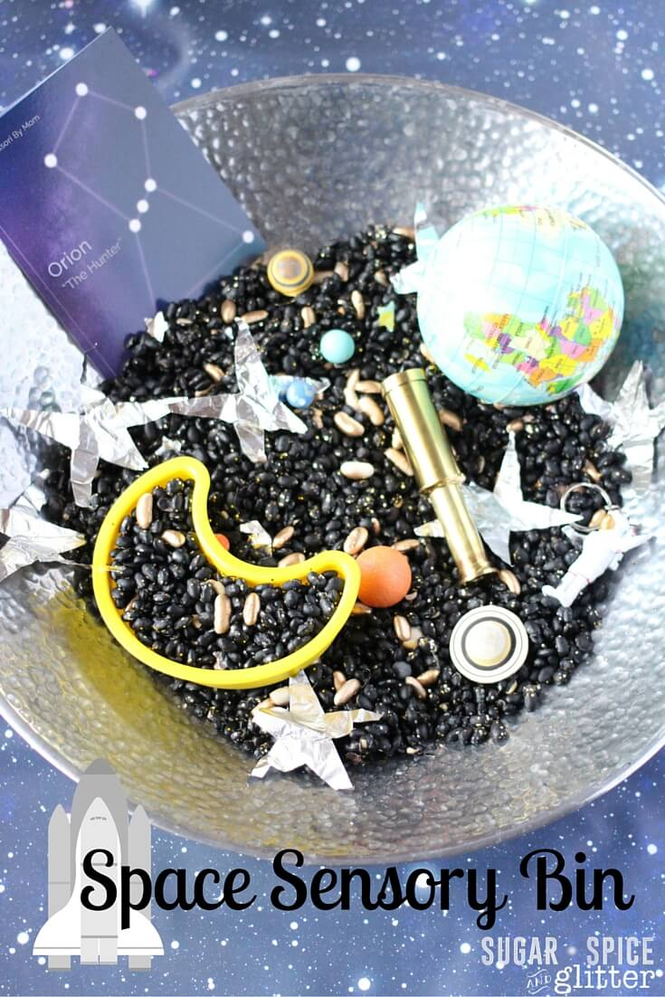 A fun & easy to set up Space Sensory Bin for your little astronaut. Hands-on learning about space along with some great sensory play suited for a variety of ages
