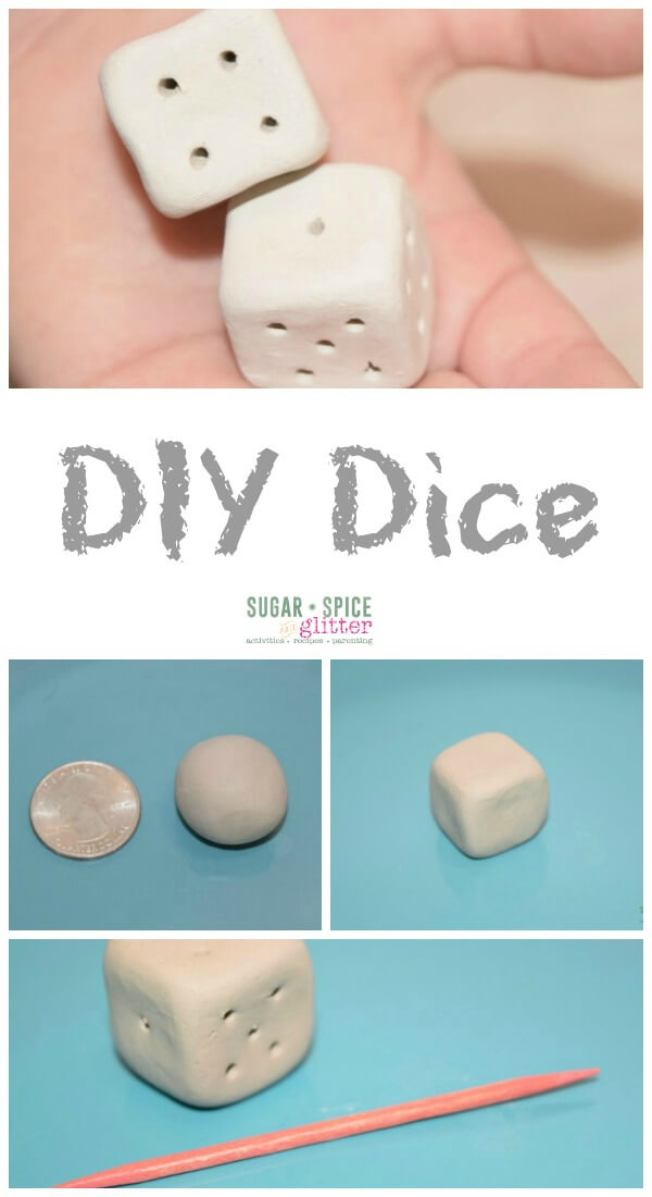Homemade toys are the best, and these DIY Dice couldn't be easier. Perfect for homemade games or to replace lost dice, this post also has a list of fun math games to use your dice with!