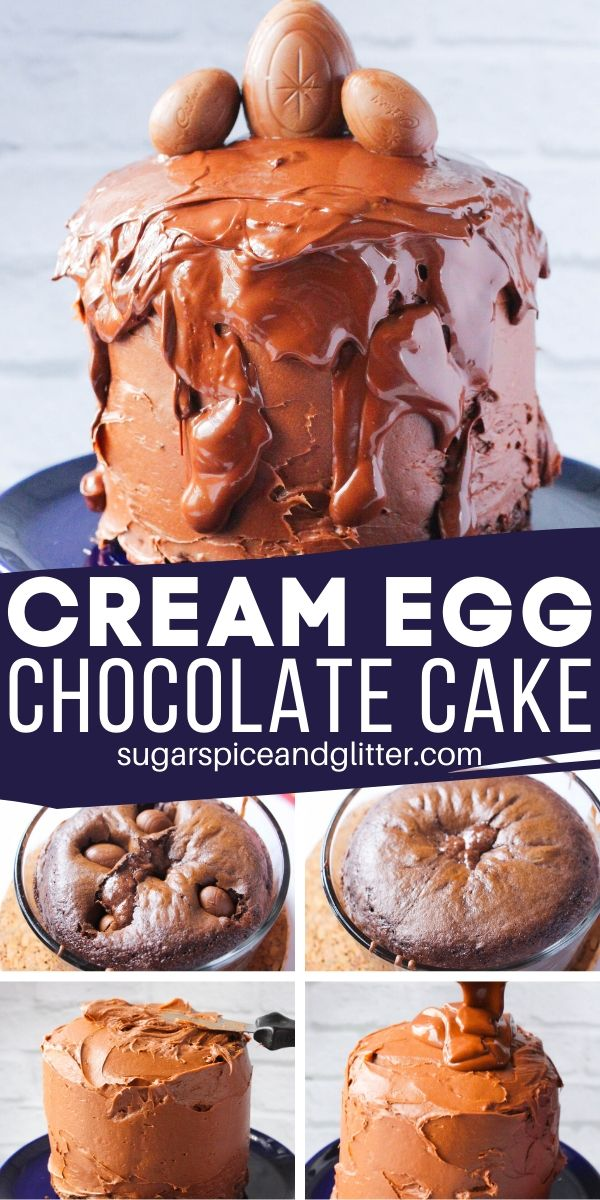 A super simple, step-by-step recipe for a three-layer, triple-chocolate Cadbury Cream Egg Easter cake - so simple, the kids can make it!