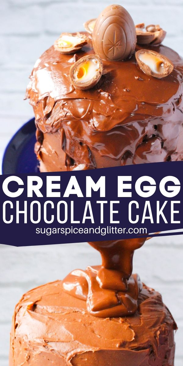 A decadent, three-layer, triple-chocolate Cream Egg cake just in time for Easter! This is the ultimate Easter cake for chocolate lovers and so simple, kids can make it!