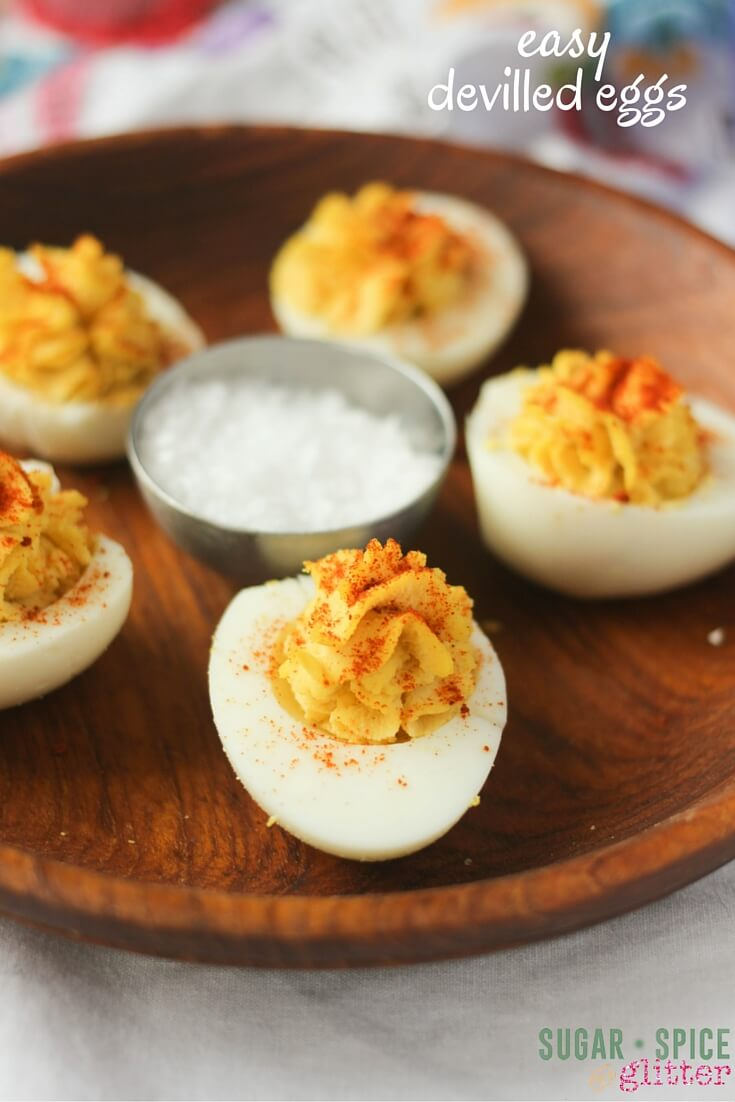Easy Deviled Eggs recipe - creamy, delicious and flavourful deviled eggs, with or without mayo! These will have your guests singing your praises before supper even starts!