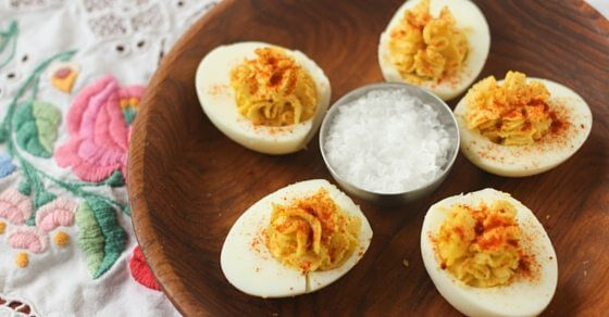 Easy Devilled Eggs recipe - creamy, delicious and flavourful devilled eggs, with or without mayo! These will have your guests singing your praises before supper even starts!