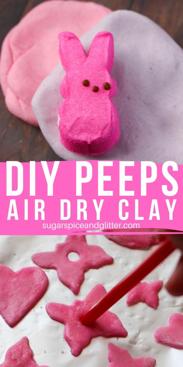 A super simple recipe for marshmallow air dry clay using PEEPS. An edible Easter sensory play idea for kids