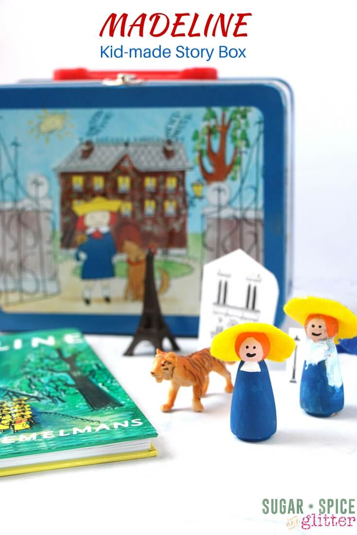 MADELINE Kid-made Story Box with DIY peg dolls inspired by the classic children's book. A fun Madeline book activity and a perfect DIY travel activity or busy bag