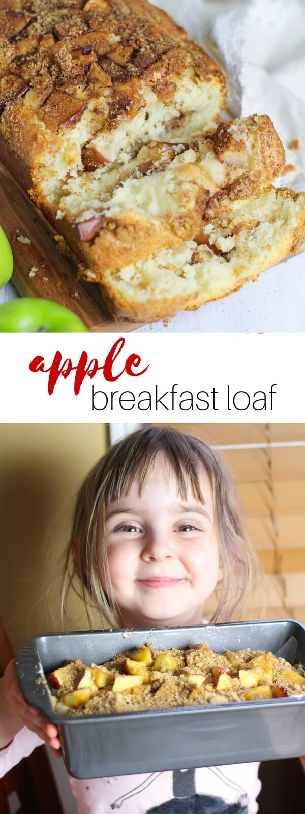 he apple breakfast loaf recipe is the perfect recipe for kids to help with in the kitchen! Tender, cake-like bread with cinnamon-brown sugar and real chunks of apple mixed in - the perfect way to start your day.