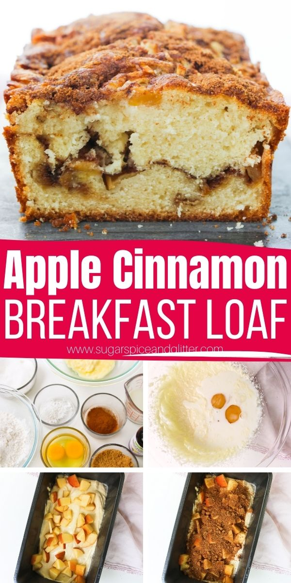 How to make apple cinnamon breakfast loaf, the best apple bread recipe with a tender, cake-like crumb and juicy chopped apples. A cinnamon-brown sugar swirl and topping takes this simple apple bread over the top!