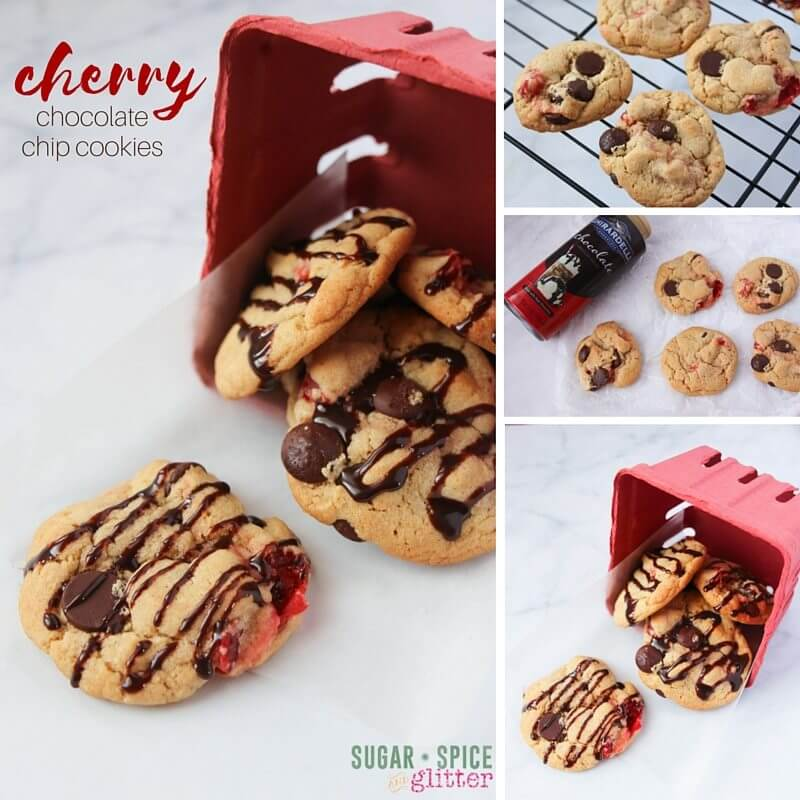 How to make this cherry chocolate chip cookie recipe, complete with browned butter and dark chocolate drizzle