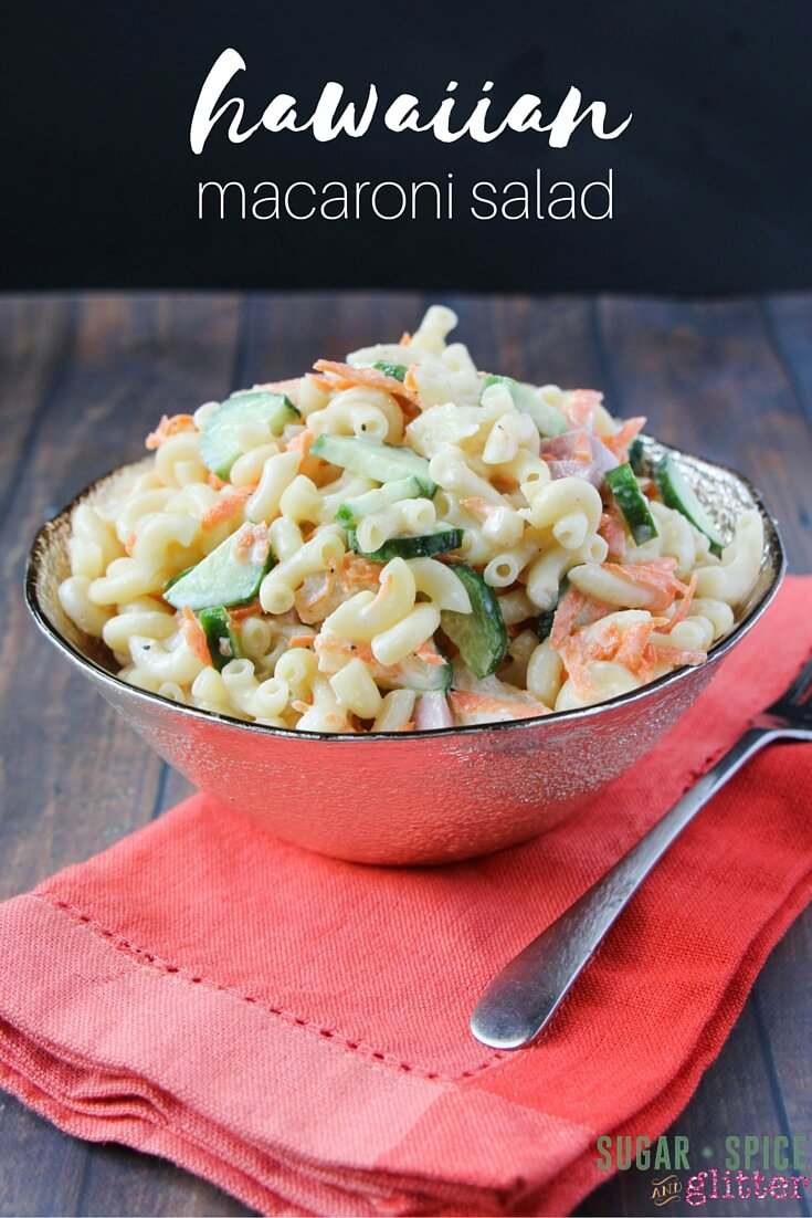 This Hawaiian macaroni salad is delicious - sweet and creamy, and the perfect summer salad for barbecues or picnics. Just throw all of the ingredients into a bowl and you're done!