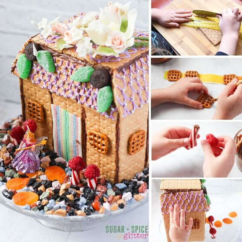 How to make a fairy house you can eat, an easy tutorial that kids can follow for a DIY Edible Fairy House, perfect for a Fairy party or a fun weekend STEAM project