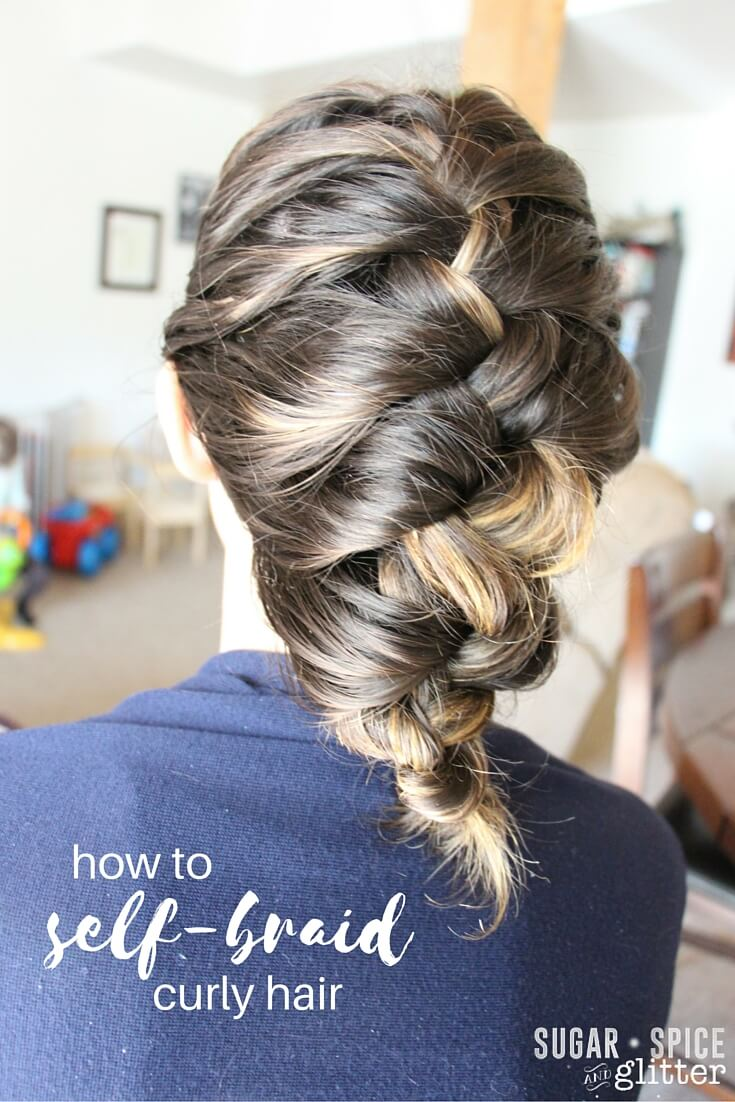 How to self braid curly hair, a step-by-step tutorial with tips and tricks from a hair dresser. Includes a review of the new line of #WholeBlends products, including the Coconut Water and Vanilla Milk hair mask. ad
