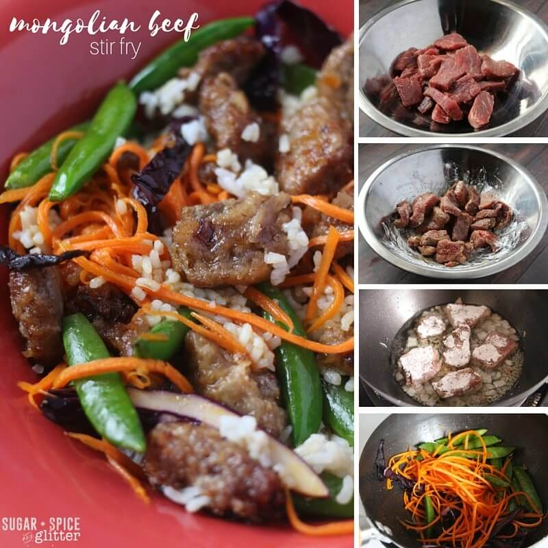 Step by step recipe direction for how to make a healthy Mongolian beef stir fry - a new family favourite!