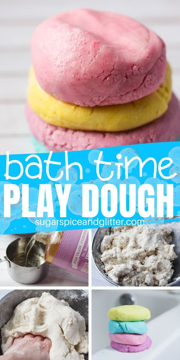 Make bath time more fun with this squishy bath time play dough that actually helps kids get clean as they play! A fun play dough soap that will last for months