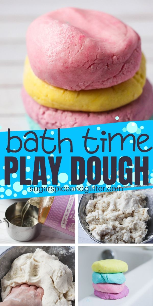 This play dough soap is the most fun bath time sensory play idea - squishy, sudsy with no mess AND it actually helps the kids get clean!