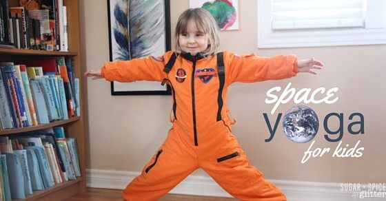A cute idea for physical activity during a space unit study - or just to get your little astronaut moving - this space yoga for kids sequence takes kids on an imaginary trip through space