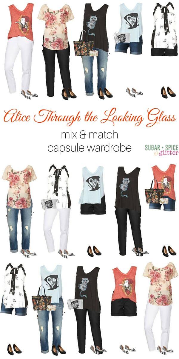 Alice Through the Looking Glass mix & match capsule wardrobe - Disney wardrobe board