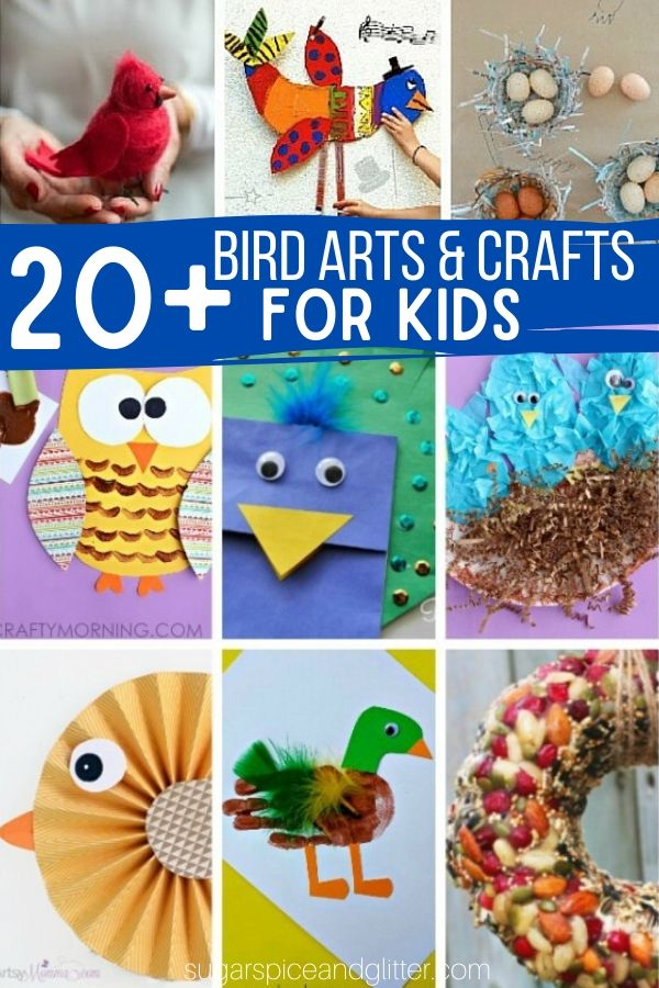 Over 20 Bird-inspired Arts and Crafts for Kids, plus fun ideas to bring the bird theme into math, science and sensory play