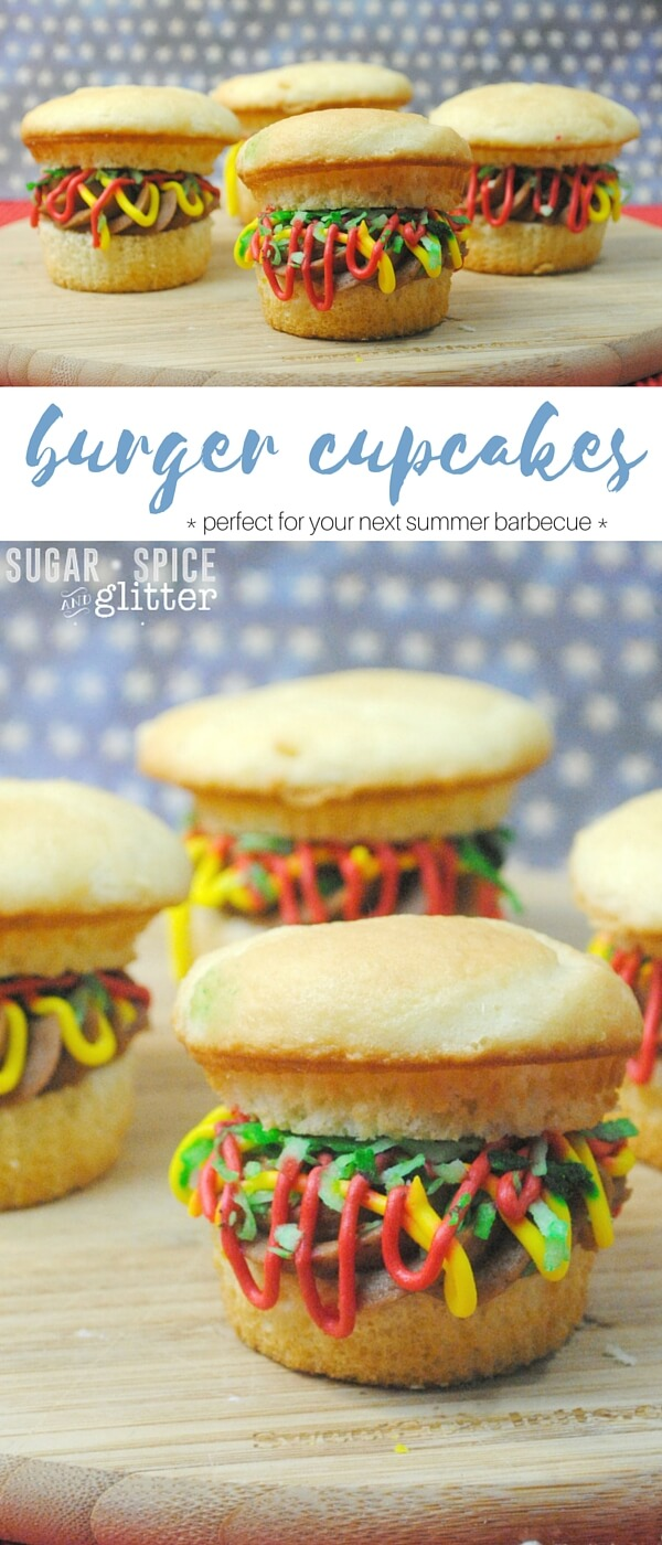 "A fun & delicious recipe for burger cupcakes - with a chocolate buttercream ""patty,"" vanilla buttercream ""ketchup & mustard,"" and green coconut ""lettuce."" This is an awesome summer dessert for your next backyard barbecue or summer party."