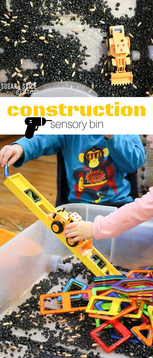 This construction sensory bin is such a fun way to keep little builders entertained! A mixed-ages sensory bin perfect for rainy days, you can build so many STEAM challenges into this bin