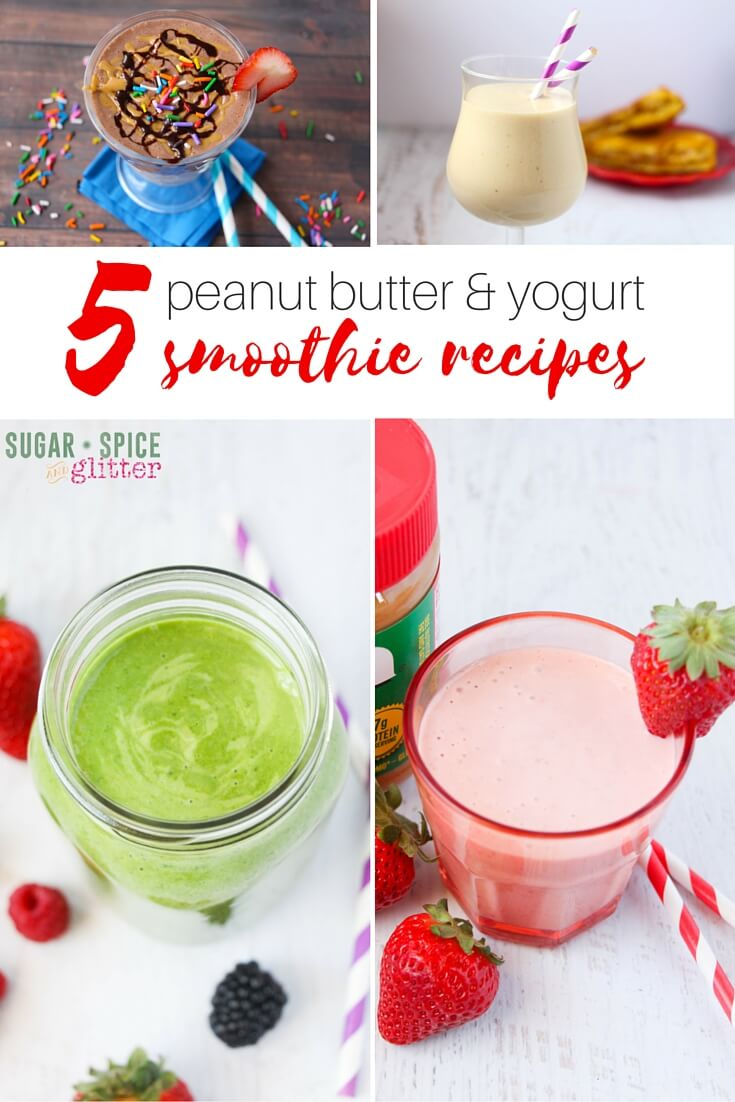 5 delicious peanut butter & yogurt-based smoothies - a Sundae smoothie, an Elvis smoothie, a berry green smoothie, a strawberry PB&J smoothie, and even an iced coffee smoothie! Easy smoothie recipes that can be whipped together in just a couple minutes and are better for you.