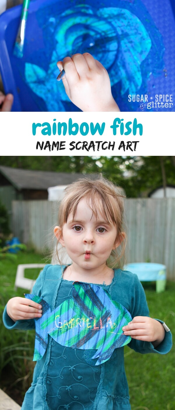 A fun Rainbow Fish craft to try after reading this book, make some DIY Scratch Art in the shape of a fish to encourage your child to practice writing their name!