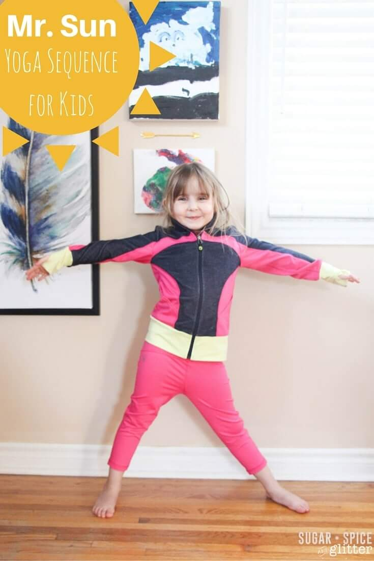Mr. Sun Yoga Sequence for kids - a fun summer yoga for kids activity perfect for calming kids down or warming them up for other gross motor activities