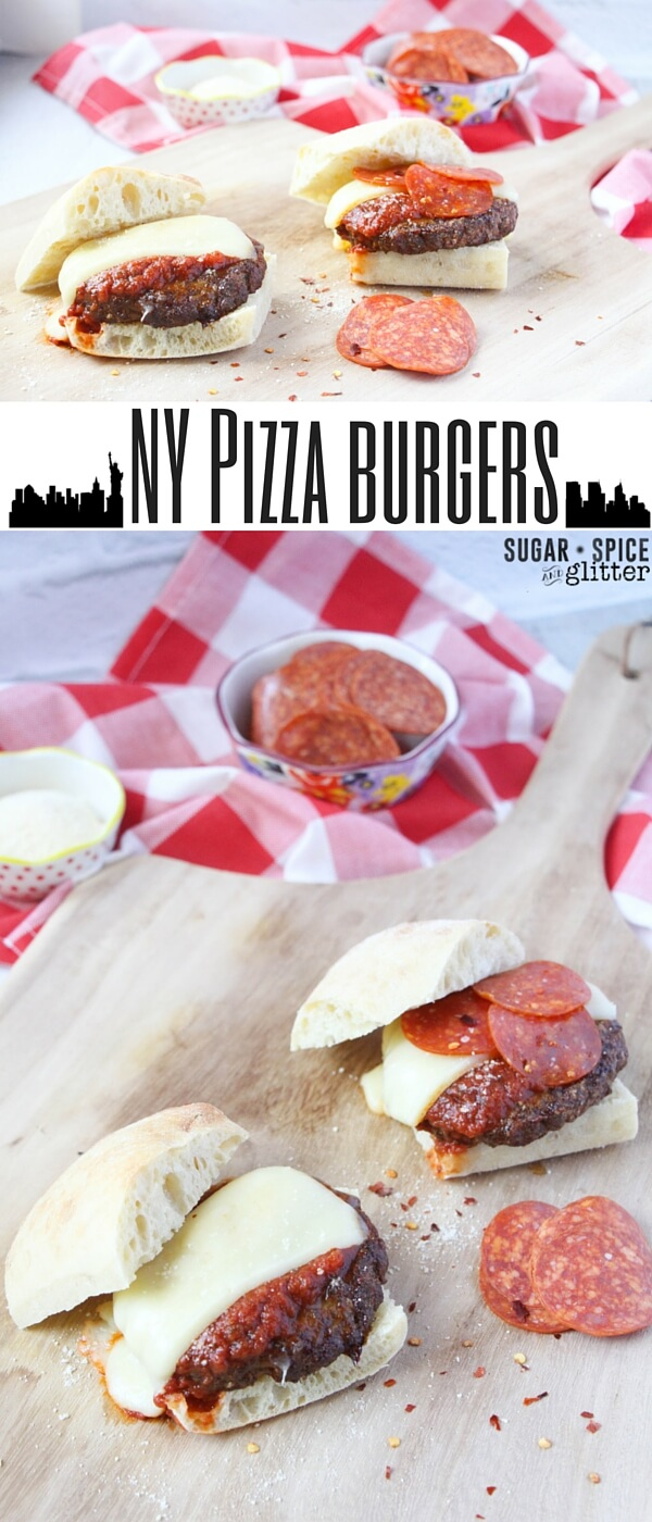 NY Pizza burgers - never choose between pizza or burgers again! A delicious homemade burger patty topped with pizza sauce, mozzarella cheese, and whatever pizza toppings you desire!