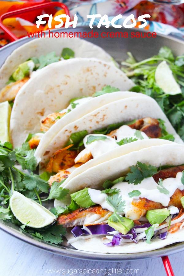 Spicy Fish Tacos Recipe - a delicious non-breaded fish taco recipe with homemade crema sauce