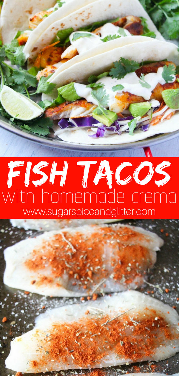 Fish Tacos with homemade crema - adjust the level of spice to your personal preference. These grilled or baked fish tacos are perfect for Taco Tuesday