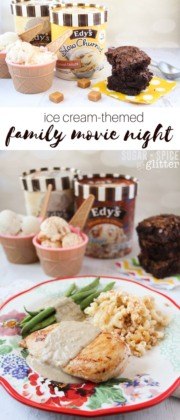 "A more balanced take on ""ice cream for dinner,"" this ice cream-themed family movie night features vanilla-balsamic chicken, vanilla mac and cheese, and double chocolate caramel brownies - with ice cream of course!"