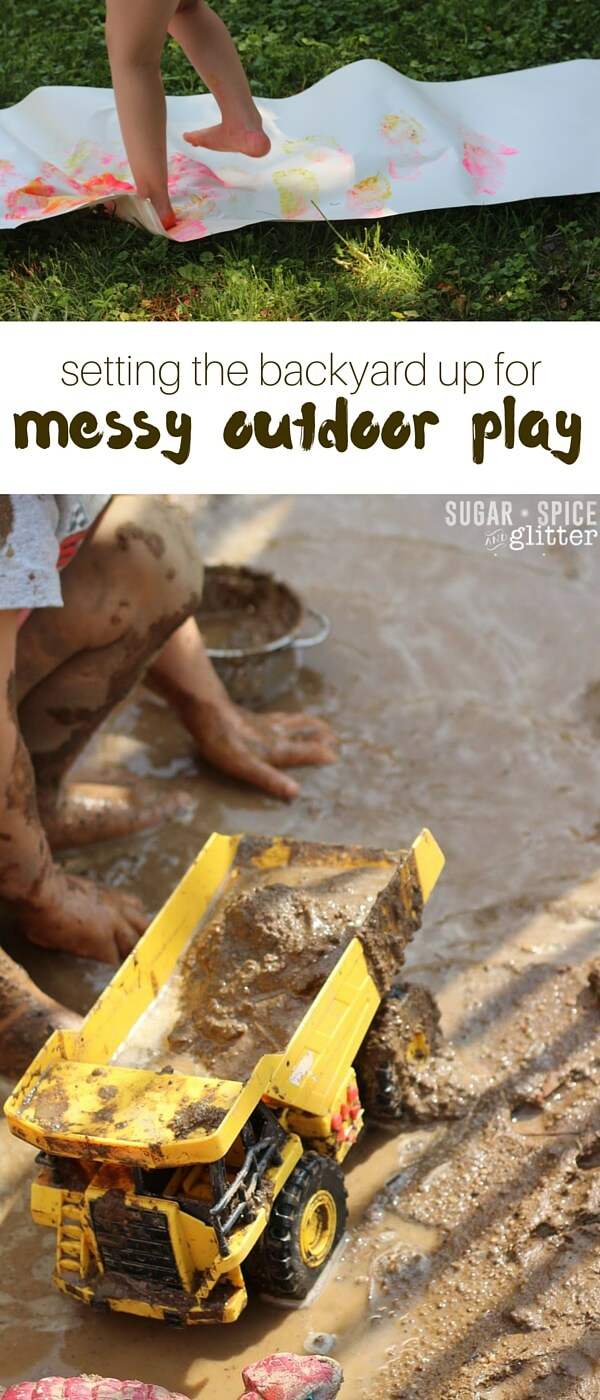 Inspiring ideas for bringing messy play outdoors for an enriched sensory experience - and to make clean up easier. Child-sized fairy gardens, outdoor art experiences, mud pits and more - get inspired and set your backyard up for messy memory-making