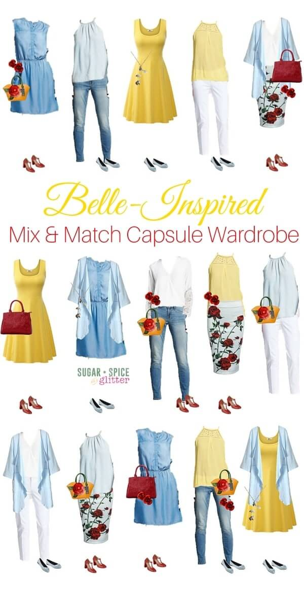 Beauty inspired wardrobe board for some fun fashion inspiration. Dress like a princess with these classy & affordable Belle inspired outfits for grown ups